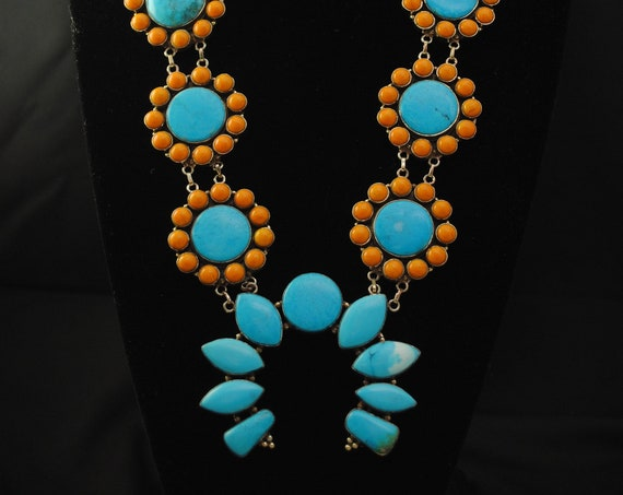 Blue Turquoise Yellow Coral Squash Blossom Necklace #12031