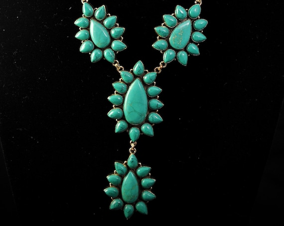 Green Turquoise Teardrop Flower Blossom Necklace #11381