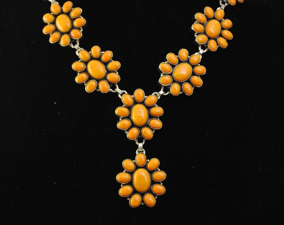 Yellow Coral Flower Blossom Necklace #12034