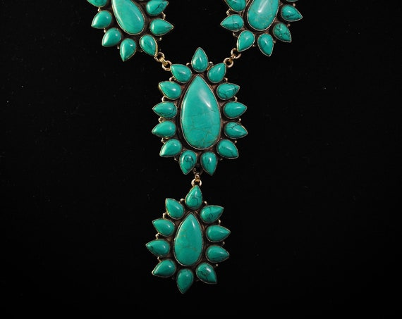 Turquoise Teardrop Flower Blossom Necklace #11380