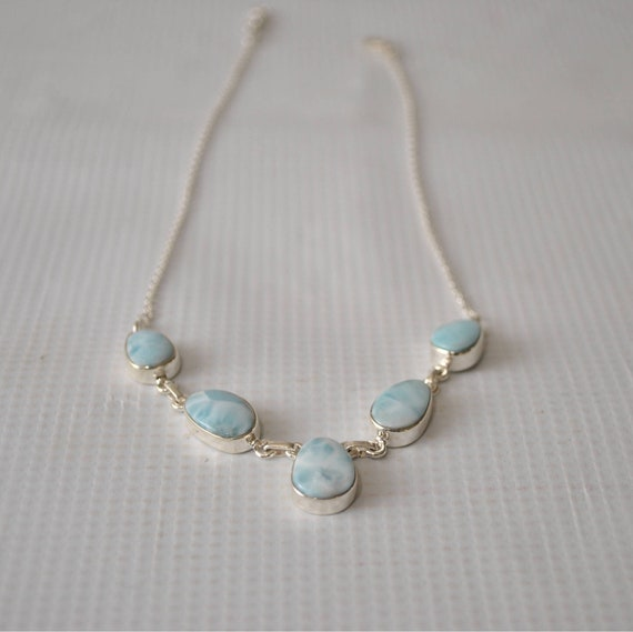 Sterling Silver Larimar Oval Teardrop Necklace #8959