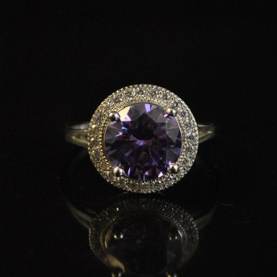 Sterling Silver Amethyst White Topaz Ring Sz 9  #11430