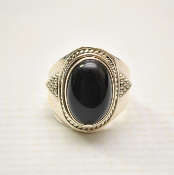 Sterling Silver Black Onyx Sz 7 #9247