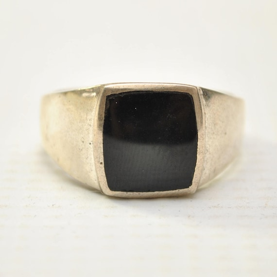 Onyx Small Square Stone in Plain Sterling Silver Ring Sz 10 #8762