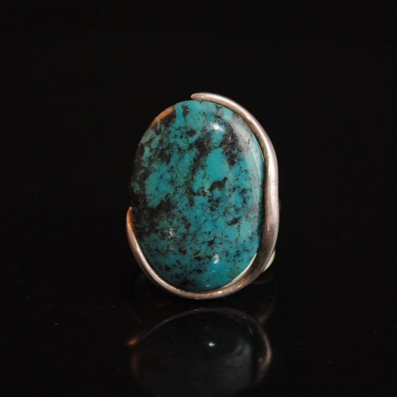 Sterling Silver Native American Navajo Turquoise Ring Sz 8 #10407