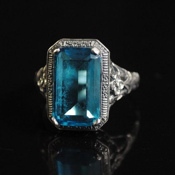Sterling Silver Blue Topaz Art Deco Ring Sz 9 #11663