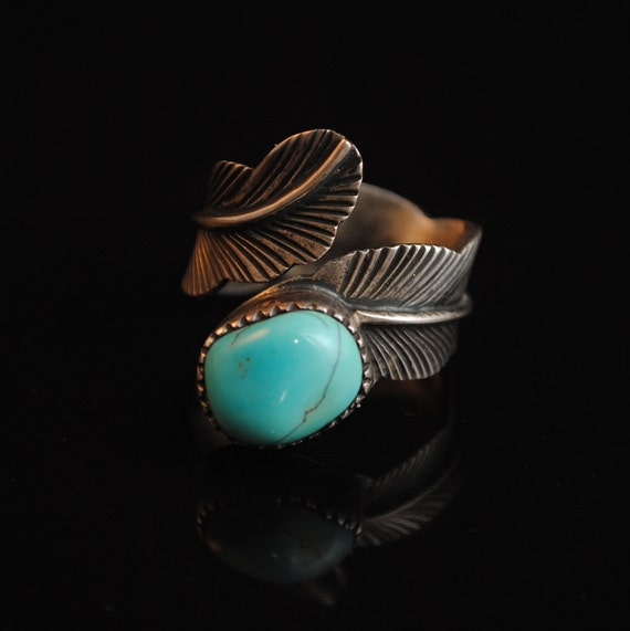 Sterling Silver Native American Navajo Feather  Turquoise Ring Sz 11 #13283
