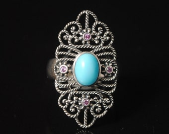 Sterling Silver Antique Style Turquoise Ruby Art Deco Ring Sz 7 #10247