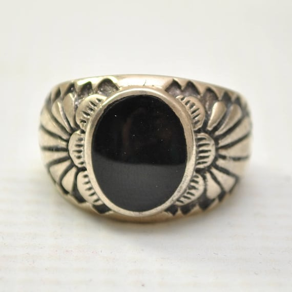 Onyx Large Oval in Headress Sterling Silver Ring Sz 10 #8770