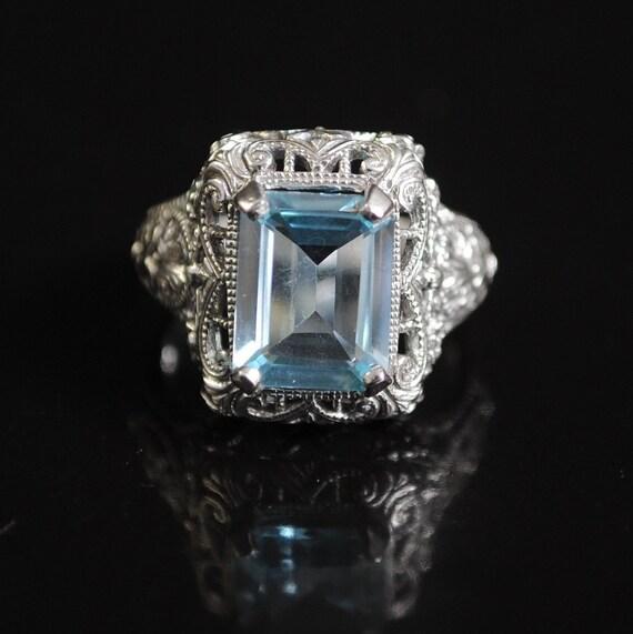 Sterling Silver Aquamarine Edwardian Ring Sz 6  #11682