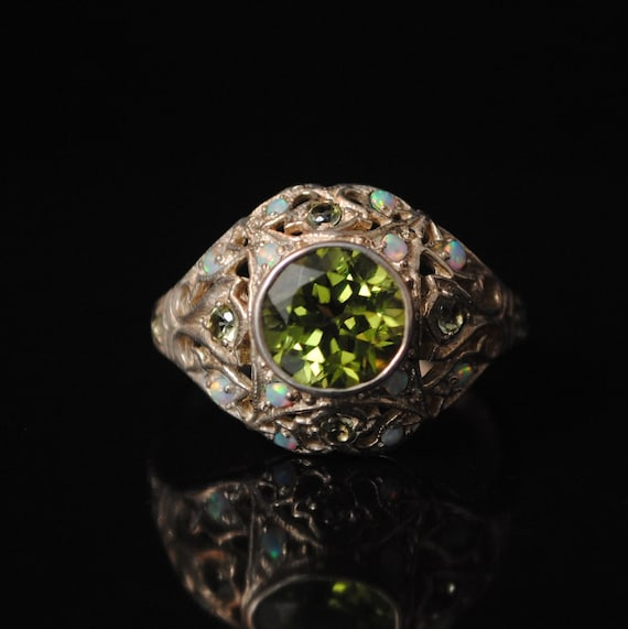 Sterling Silver Antique Style Art Deco Peridot Opal Ring Sz 6  #6767