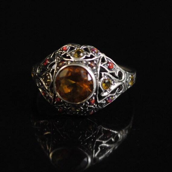 Sterling Silver Citrine Opal Art Deco Ring Sz 7 #11653