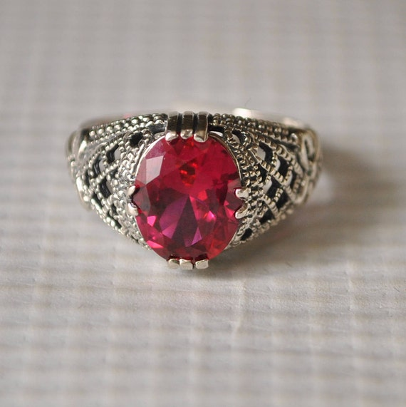 Sterling Silver Ruby Art Deco Ring Sz 7  #9815