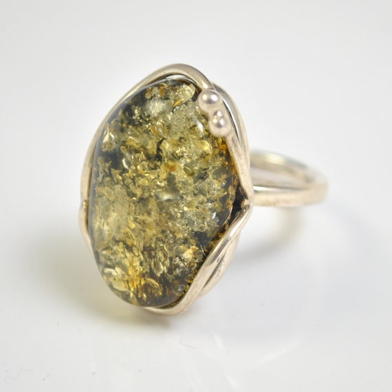 Sterling Silver Green Amber Adjustable Ring #10449