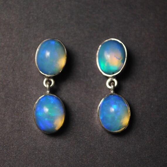 Sterling Silver Opal 4 Stone Stud Earrings #13806