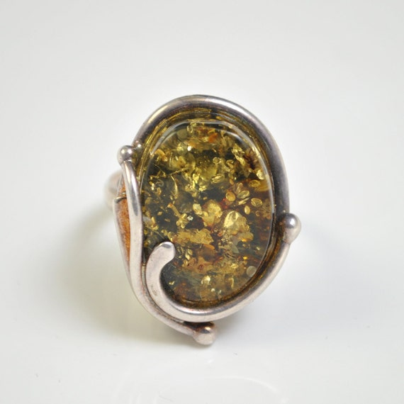 Sterling Silver Green Amber Adjustable Ring #10448
