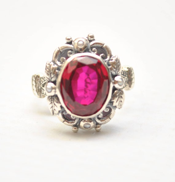 Sterling Silver Antique Style Art Deco Ruby Pearl Filigree Ring Sz 7  #7928