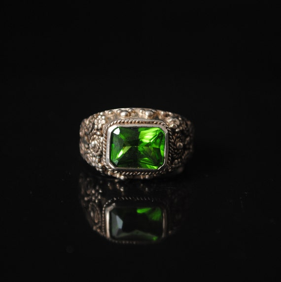 Sterling Silver Peridot Art Deco Ring Sz 6.75 #8411
