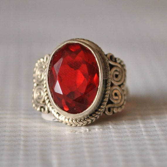 Sterling Silver Fire Garnet Ring Sz 6 #9845