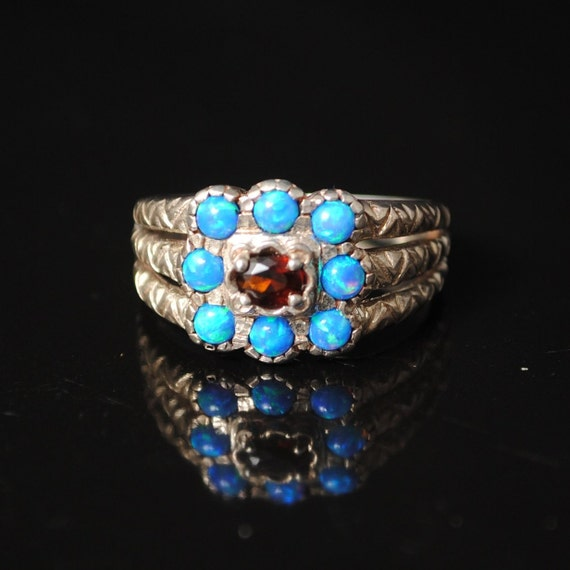 Sterling Silver Garnet Blue Fire Opal Art Deco Ring Sz 7 #7012