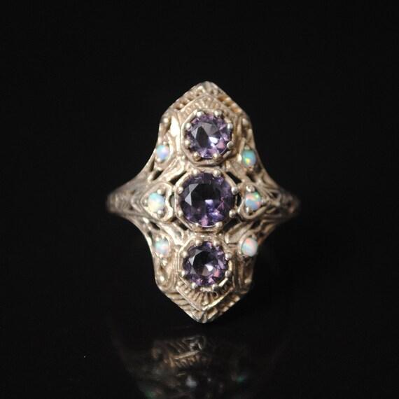 Sterling Silver Amethyst  Opal Art Deco Ring Sz 7 #7580