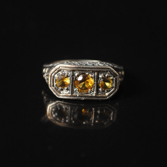 Sterling Silver Citrine Art Nouveau Ring Sz 8 #12996