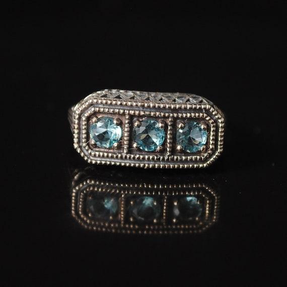 Sterling Silver Aquamarine  Art Deco Ring Sz 7 #12992