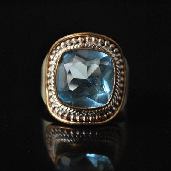 Sterling Silver Swiss Blue Topaz Ring Sz 8.75  #10324
