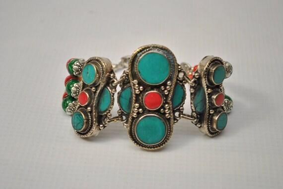 Tibetan Coral and Turquoise Bracelet #7347