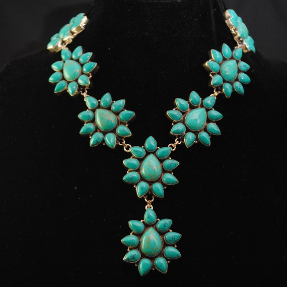 Green Turquoise Teardrop Flower Blossom Necklace #12045