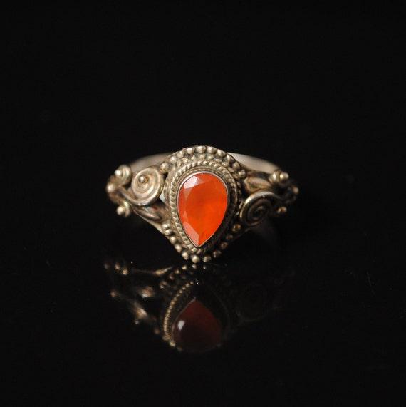 Sterling Silver Carnelian Art Deco Ring Sz 8 #10609