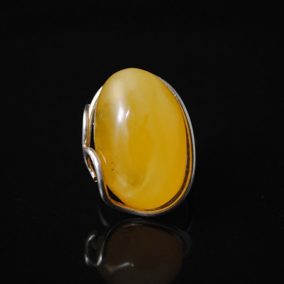Sterling Silver Butterscotch Amber Ajustable Ring #10809