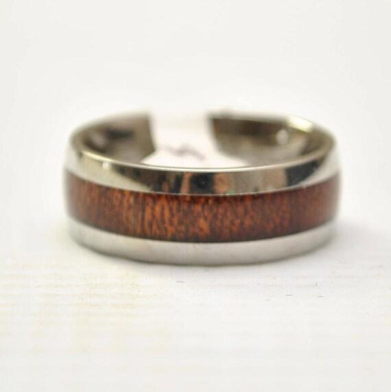 Hawaiian Koa Wood Narrow Inlay Band in Stainless Steel Ring Sz 13 #8207