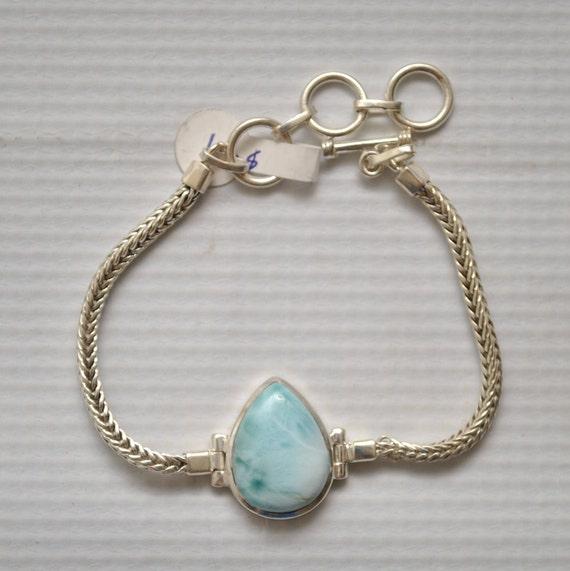 Sterling Silver Teardrop Larimar Bracelet #8953