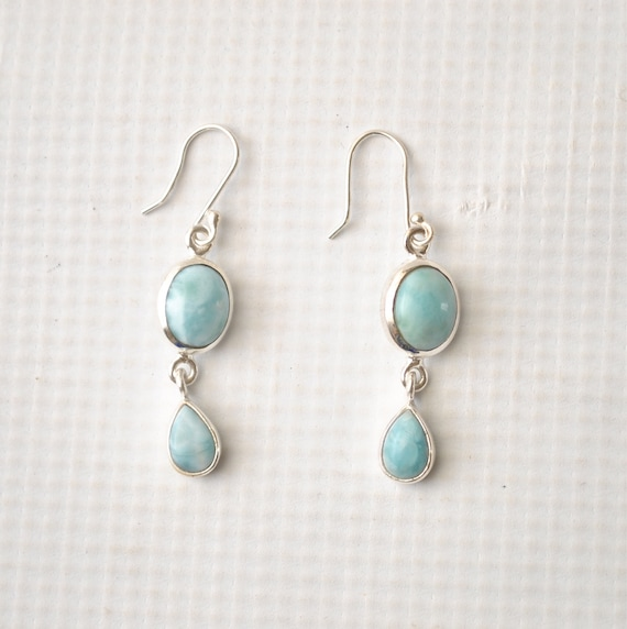 Sterling Silver Larimar Multiple Stone Earrings #9051