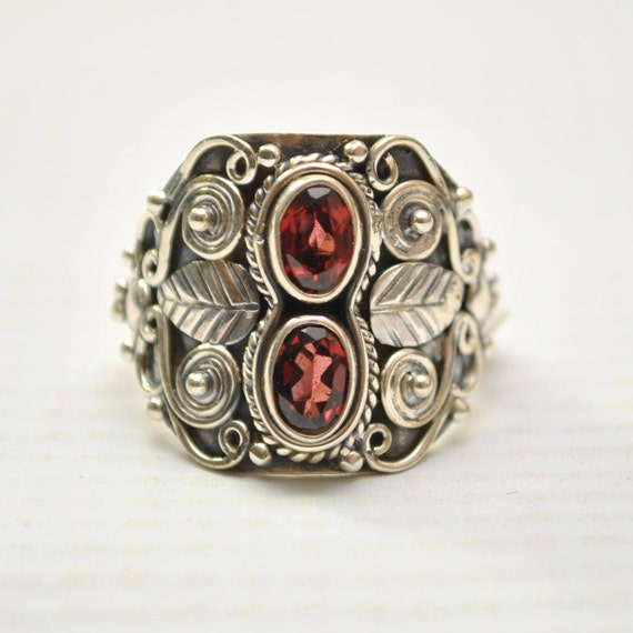 Sterling Silver Garnet Ring Sz 7.5 #9255