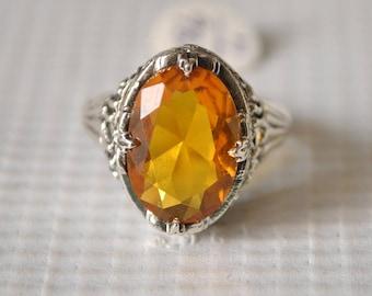 Sterling Silver Golden Citrine Art Deco Ring Sz 7 #9825