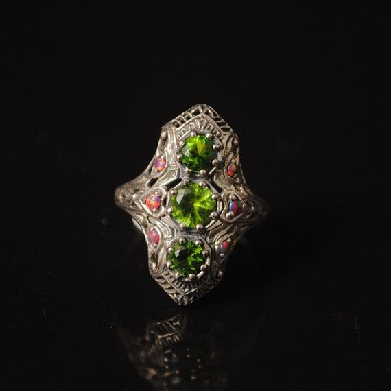 Sterling Silver Antique Style  Peridot Opal Victorian Ring Sz 6 #11538