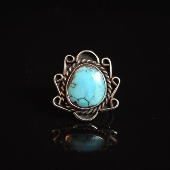 Sterling Silver Native American Turquoise Ring Sz 7.75 #5449