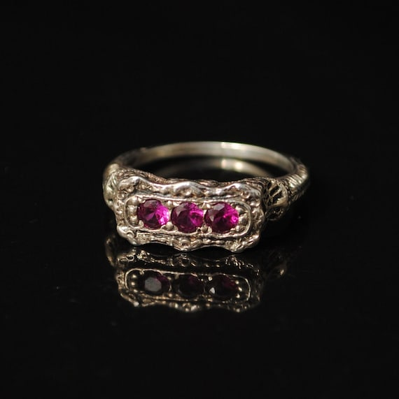 Sterling Silver Ruby Art Deco Ring Sz 6 #6896