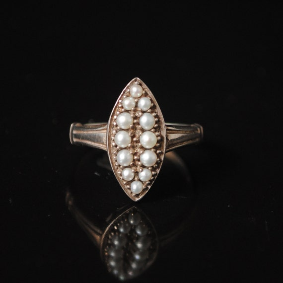Sterling Silver Antique Style Seed Pearl Art Deco Ring Sz 7 #7231