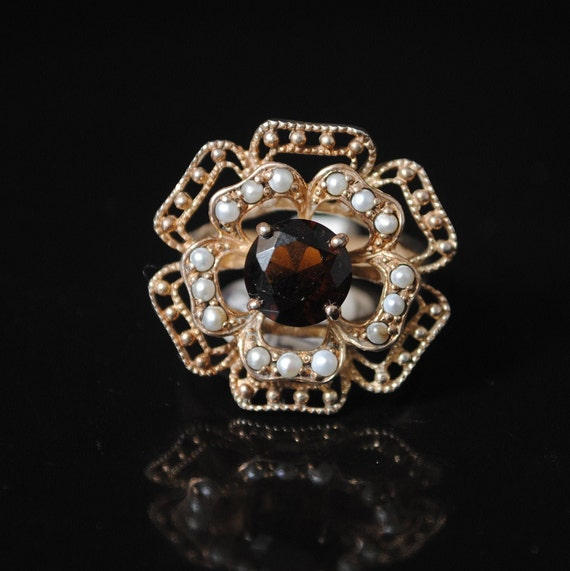Sterling Silver Antique Style Art Deco Smoky Topaz Seed Pearl Ring Sz 8 #7931