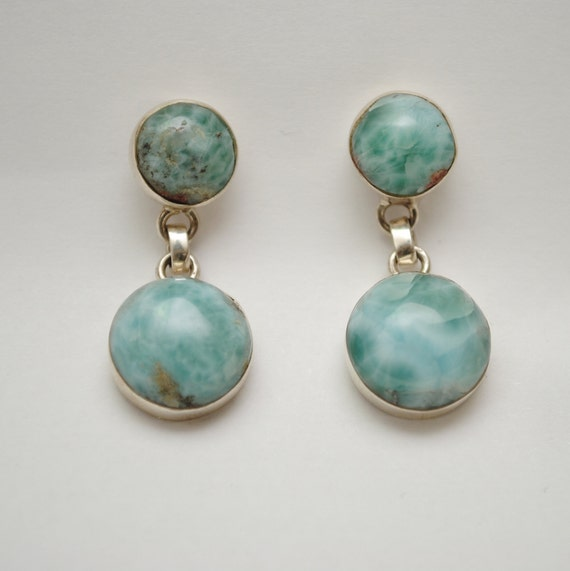 Sterling Silver Larimar 2 Stone Round Earrings #11869