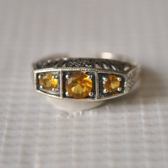 Sterling Silver Citrine Edwardian Ring Sz 6 #9823