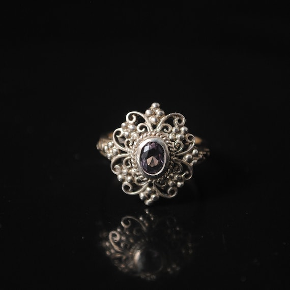 Sterling Silver Amethyst Edwardian Ring Sz 6 #12259