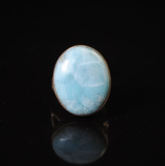 Sterling Silver Larimar Oval Ring Sz 8  #11875