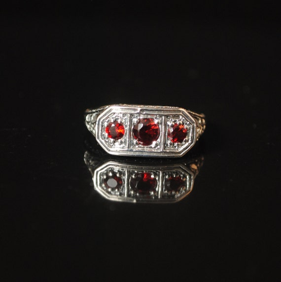 Sterling Silver Ruby Art Deco Ring Sz 7  #13332