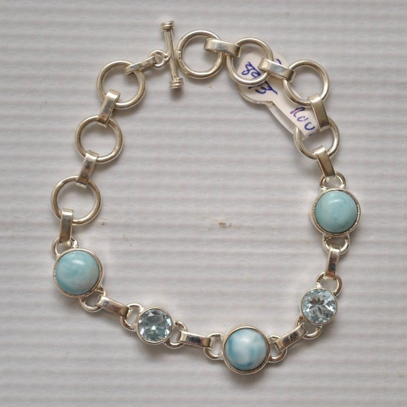Sterling Silver Five Stone Larimar with Topaz Bracelet #8943