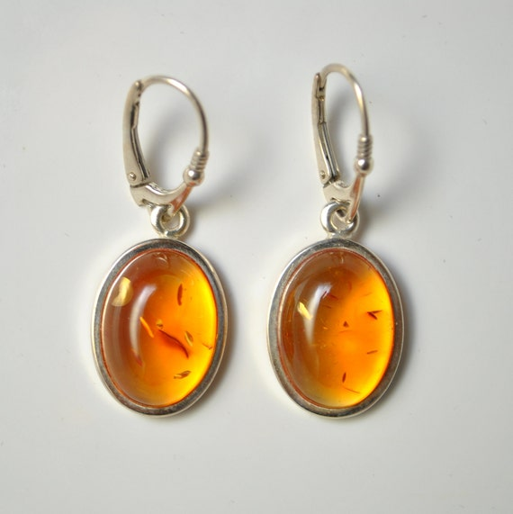 Sterling Silver Honey Amber Lever Back Earrings #10484