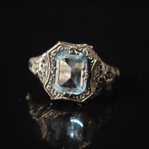 Sterling Silver Aquamarine  Art Deco Ring Sz 8 #12979